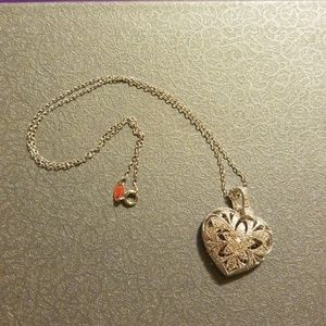 Rhodalite over brass heart necklace with 1 diamond